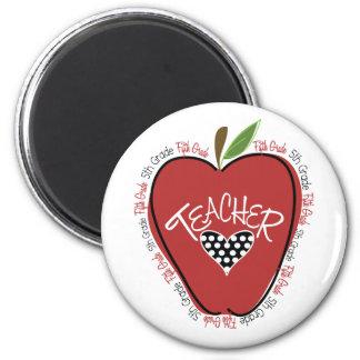 Quinto rojo Apple del profesor del grado Imanes Para Frigoríficos