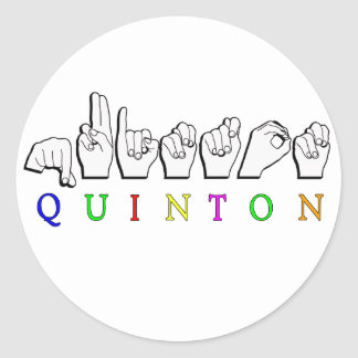 QUINTON   NAME ASL FINGER SPELLED SIGN CLASSIC ROUND STICKER