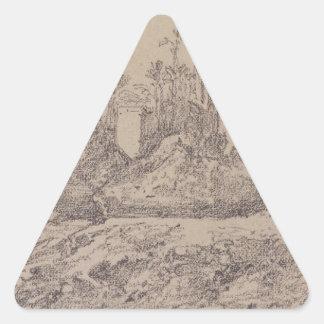 Quiosco de Trajan en Philae de Eugene Delacroix Pegatina Triangular