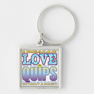 Quips Love Face Silver-Colored Square Keychain