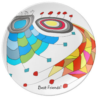 Quirky and Artsy Best Friends Porcelain Plate