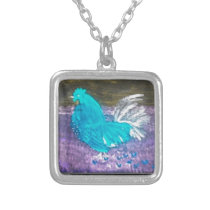 Quirky Bird Art Rooster Chicken Silver Plated Necklace