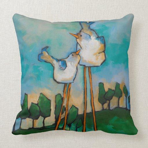 Qvc Throw Pillows : quirky birds throw pillow Zazzle
