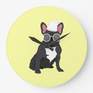 Quirky Black French Bulldog with White Glasses Large Clock