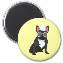 Quirky Black French Bulldog with White Glasses Magnet