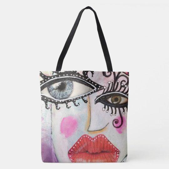 7f1c3d14e Quirky Bold Collage Art Graffiti Eyes Lips Bright Tote Bag | Zazzle.com