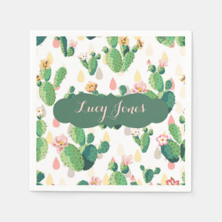 Quirky Cactus themed Napkin with Custom Name