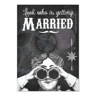 Superb Quirky Chalkboard Steampunk Wedding Invitations