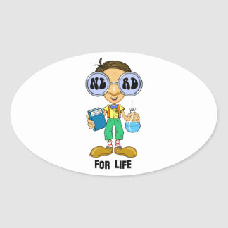 Quirky character products  Nerd for Life (Zebart) Oval Sticker