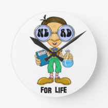 Quirky character products  Nerd for Life (Zebart) Round Clock