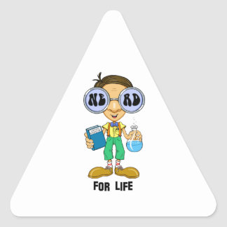 Quirky character products  Nerd for Life (Zebart) Triangle Sticker