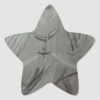 Quirky Charcoal Elephant Star Sticker