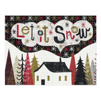 Quirky Christmas Cabin Postcard