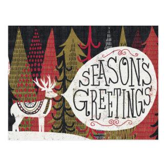 Quirky Christmas Deer Postcard
