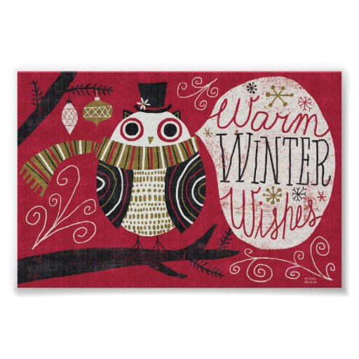Quirky Christmas Owl Poster