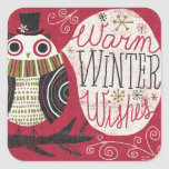 Quirky Christmas Owl Square Sticker