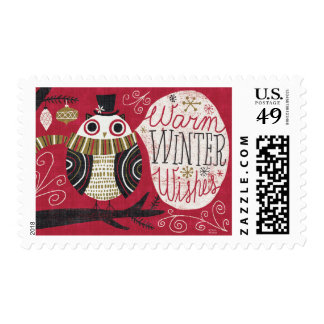 Quirky Christmas Owl Stamp