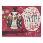 Quirky Christmas Owl Wood Wall Art