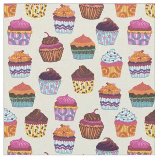 Quirky Colorful Cupcakes Fabric