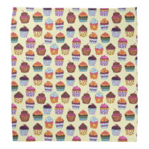 Quirky Colorful Cupcakes Illustration Pattern Bandana