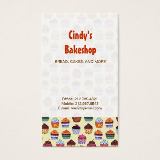 Quirky Colorful Cupcakes Illustration Pattern Business Card