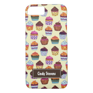 Quirky Colorful Cupcakes Illustration Pattern iPhone 7 Case