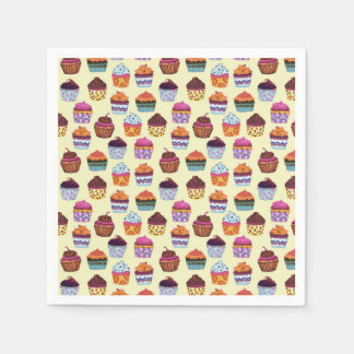 Quirky Colorful Cupcakes Paper Napkin