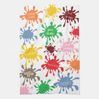 Quirky Colorful Food Stain Splatter Hand Towel