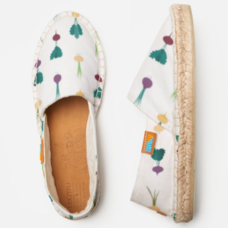 Quirky colorful vegetables cute espadrilles