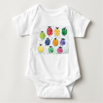 Quirky Colourful Sheep Baby Bodysuit