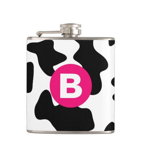 Quirky Cow Patch Pattern Pink Monogram Flask