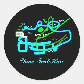 Quirky Creature Says Hello Classic Round Sticker