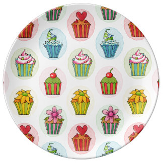"Quirky Cupcakes 10.75"" Decorative Porcelain Plate"