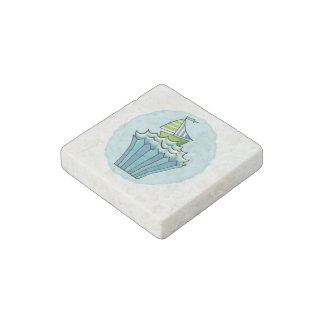 Quirky Cupcakes Blue Boat Marble Stone Magnet