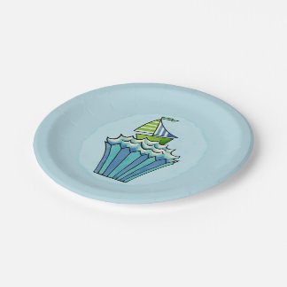 Quirky Cupcakes Blue Boat Paper Plates 7""