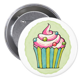 Quirky Cupcakes Colorful Round Button