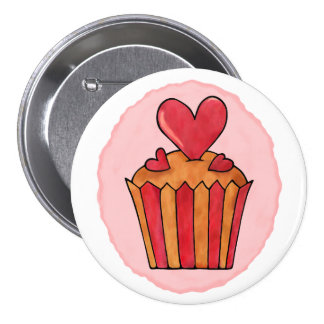 Quirky Cupcakes Heart Round Button