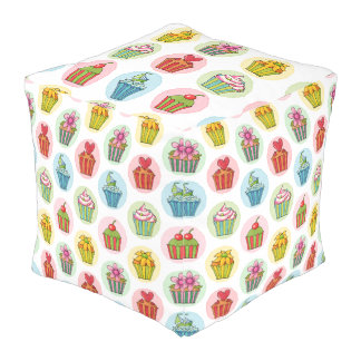 Quirky Cupcakes Outdoor Cubed Pouf (Large)