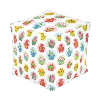 Quirky Cupcakes Outdoor Cubed Pouf Small