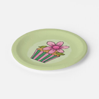 Quirky Cupcakes Pink Daisy Paper Plates 7""