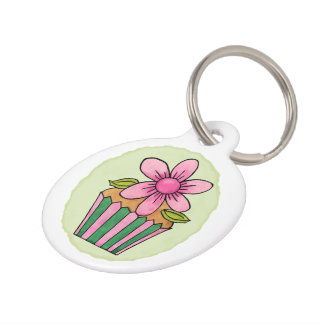 Quirky Cupcakes Pink Daisy Round Large Pet Tag