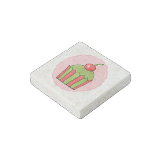 Quirky Cupcakes Red Cherry Marble Stone Magnet
