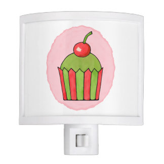 Quirky Cupcakes Red Cherry Night Light