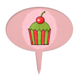 Quirky Cupcakes Red Cherry Oval Cakepick