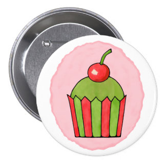Quirky Cupcakes Red Cherry Round Button
