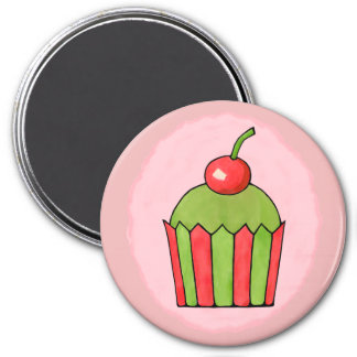 Quirky Cupcakes Red Cherry Round Magnet Large