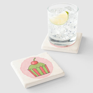 Quirky Cupcakes Red Cherry Stone Coaster