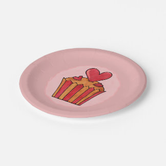 Quirky Cupcakes Red Heart Paper Plates 7""