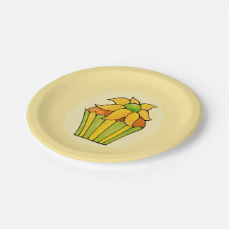 Quirky Cupcakes Yellow Flower Paper Plates 7""