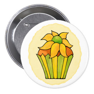 Quirky Cupcakes Yellow Flower Round Button